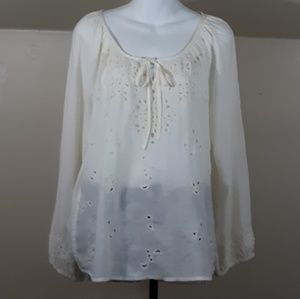 Lucky Brand Embroidered Festival Peasant Blouse